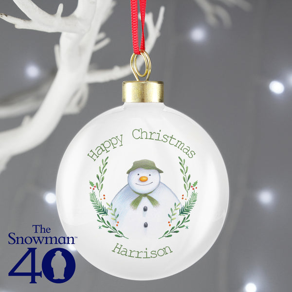 Personalised The Snowman Winter Garden Bauble with personalised name