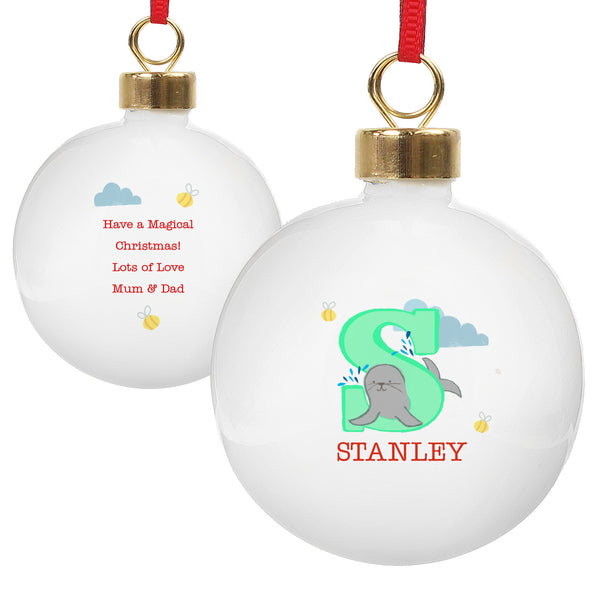 Personalised Animal Alphabet Bauble white background