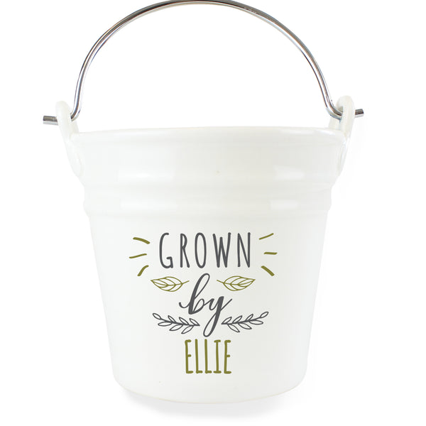Personalised Grown By Porcelain Planter white background
