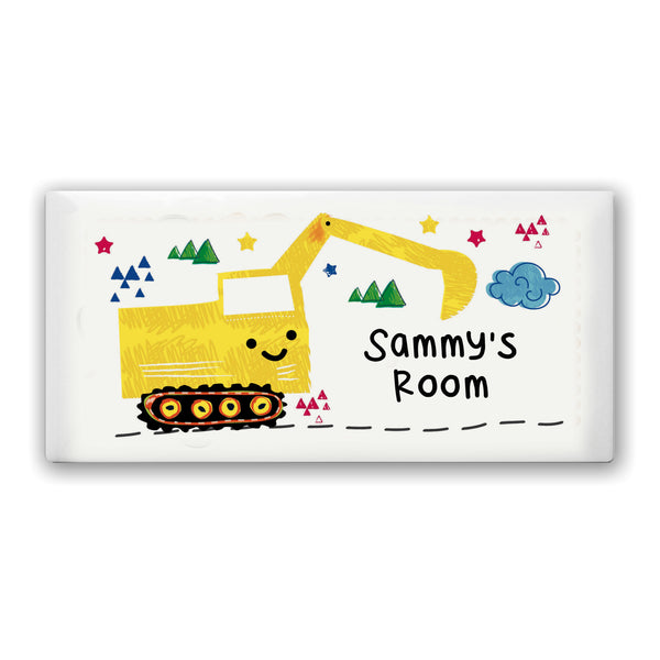 Personalised Digger Door Plaque white background
