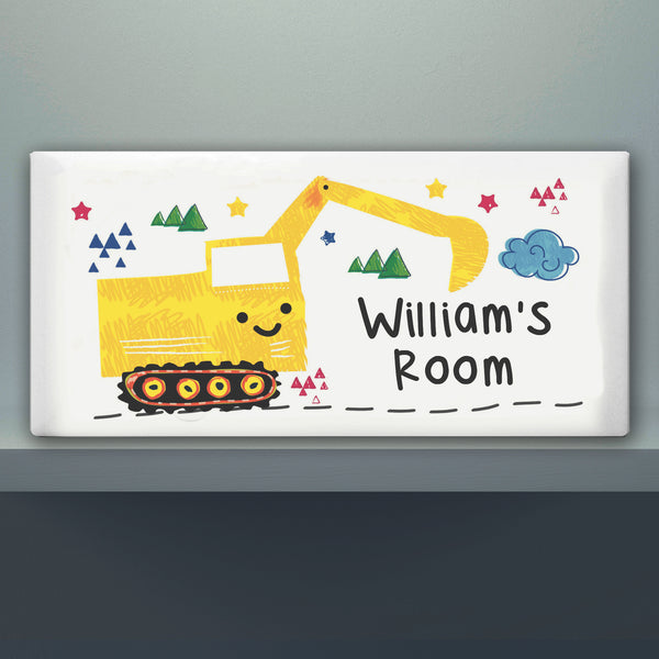 Personalised Digger Door Plaque lifestyle image