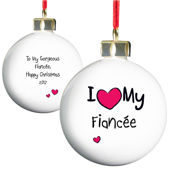 Personalised I Heart Bauble with personalised name