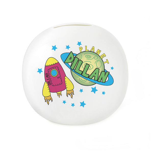 Personalised Space Money Box white background