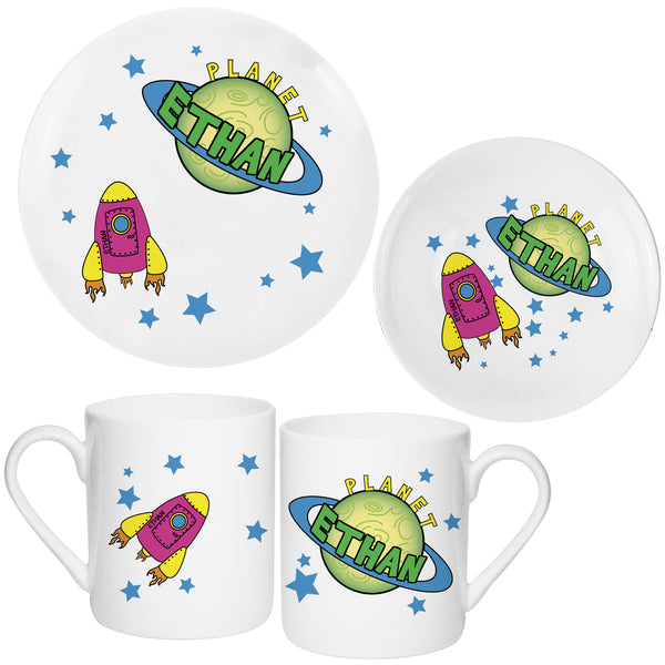 Personalised Space Breakfast Set white background