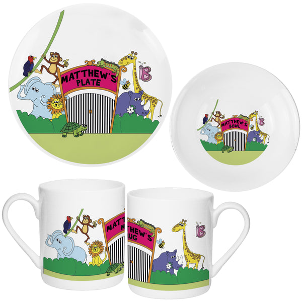 Personalised Zoo Breakfast Set white background