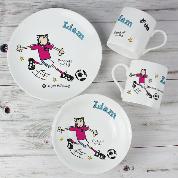 Personalised Bang on the Door Football Crazy Breakfast Set white background