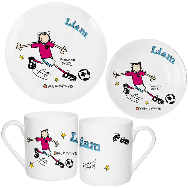 Personalised Bang on the Door Football Crazy Breakfast Set from Sassy Bloom Gifts - alternative view