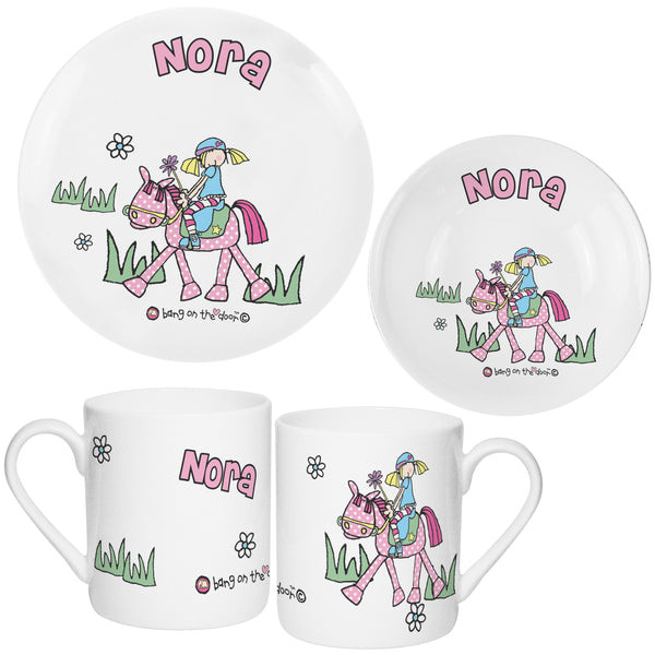 Personalised Bang on the Door Pony Girls Breakfast Set from Sassy Bloom Gifts - alternative view
