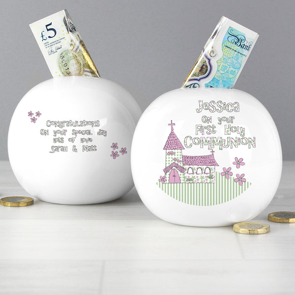 Personalised Whimsical Church Pink 1st Holy Communion Money Box