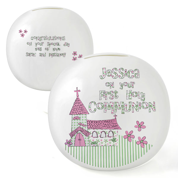Personalised Whimsical Church Pink 1st Holy Communion Money Box white background