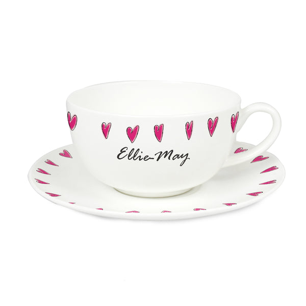 Personalised Hearts Teacup & Saucer white background