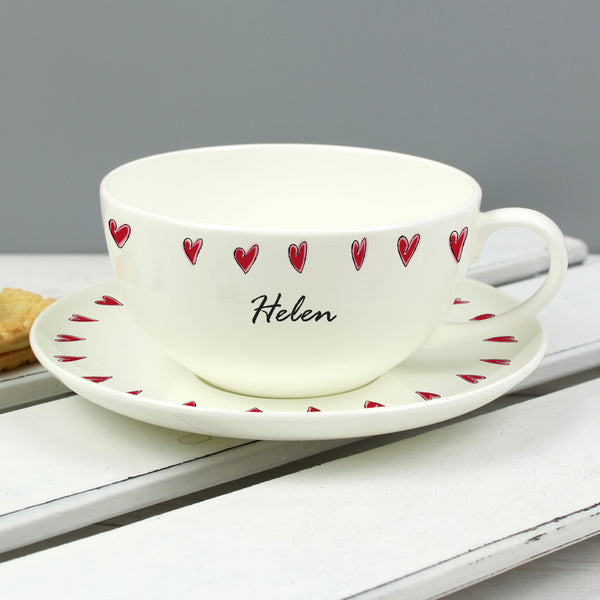 Personalised Hearts Teacup & Saucer from Sassy Bloom Gifts - alternative view
