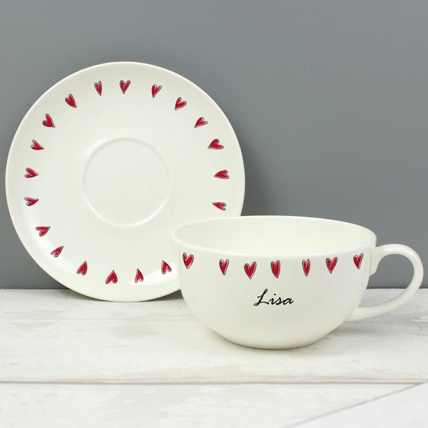 Personalised Hearts Teacup & Saucer lifestyle image