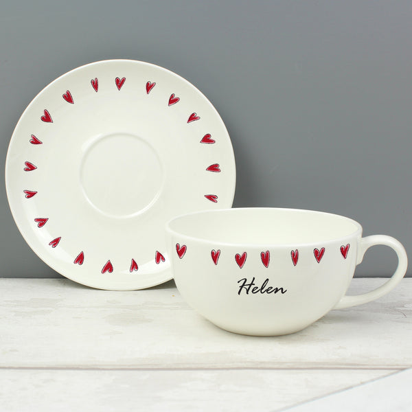 Personalised Hearts Teacup & Saucer with personalised name