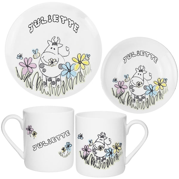 Personalised Farmyard Cow Breakfast Set white background