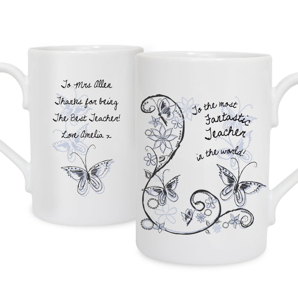 Personalised Flower Pattern Slim Mug white background