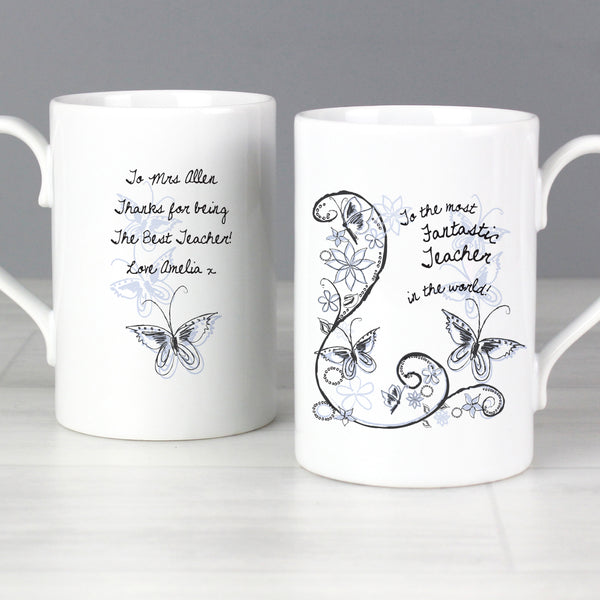 Personalised Flower Pattern Slim Mug