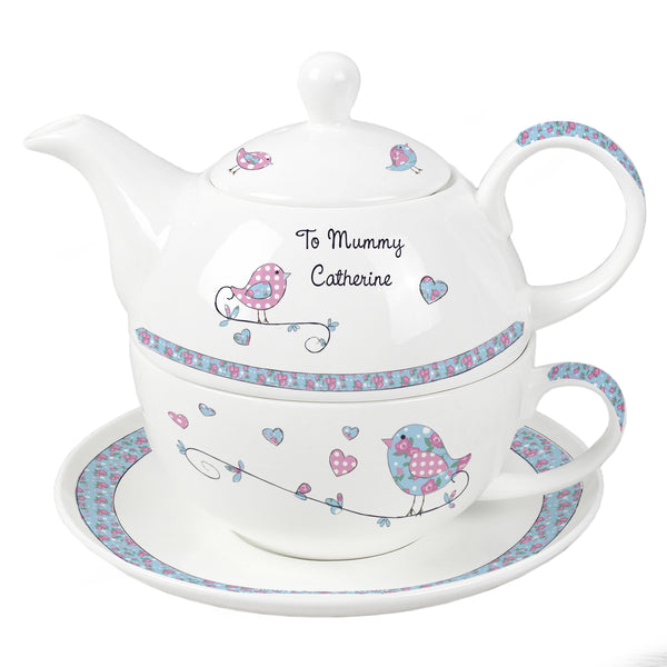 Personalised Floral Birds Tea For One white background