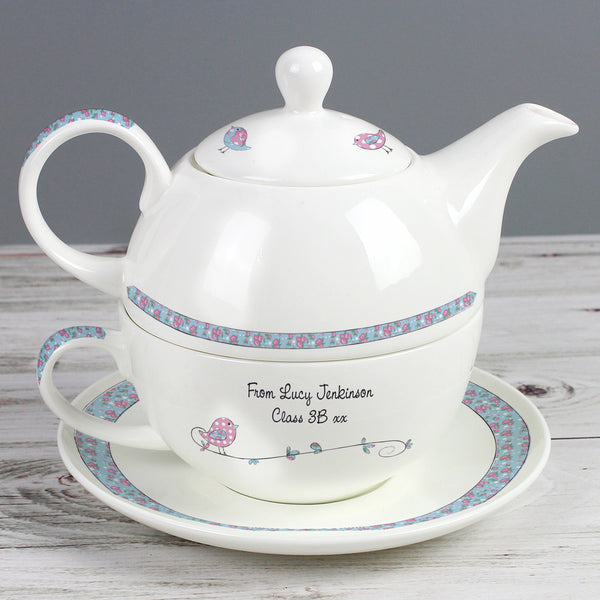 Personalised Floral Birds Tea For One from Sassy Bloom Gifts - alternative view