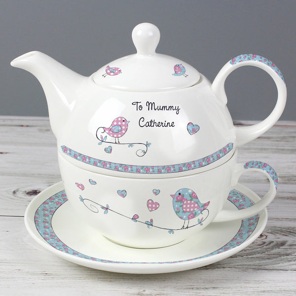 Personalised Floral Birds Tea For One lifestyle image
