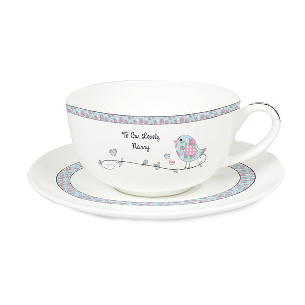 Personalised Floral Birds Teacup & Saucer white background