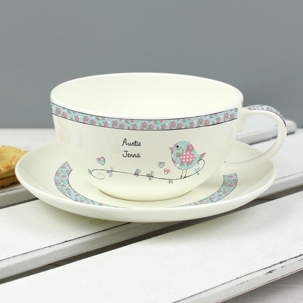 Personalised Floral Birds Teacup & Saucer from Sassy Bloom Gifts - alternative view