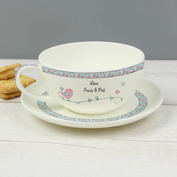 Personalised Floral Birds Teacup & Saucer with personalised name