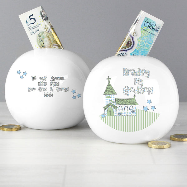 Personalised Whimsical Church Godson Money Box