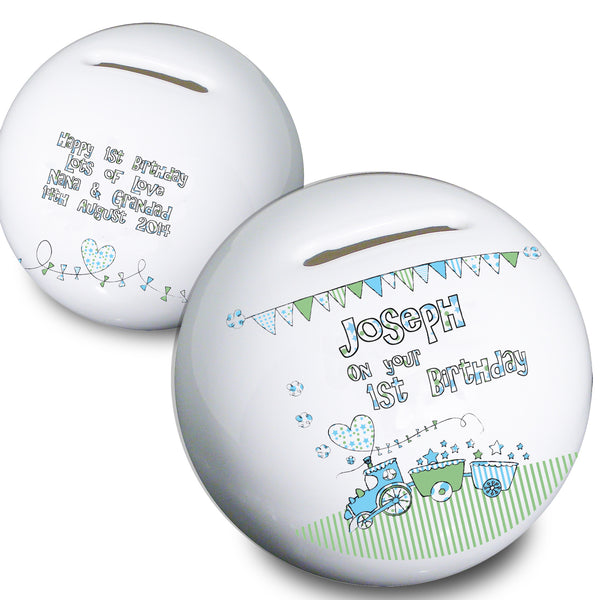 Personalised Whimsical Train Money Box from Sassy Bloom Gifts - alternative view