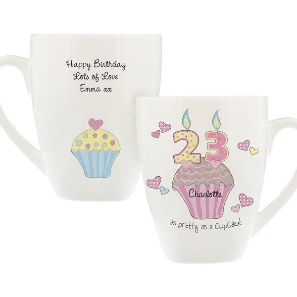 Personalised Cupcake Numbers Latte Mug white background