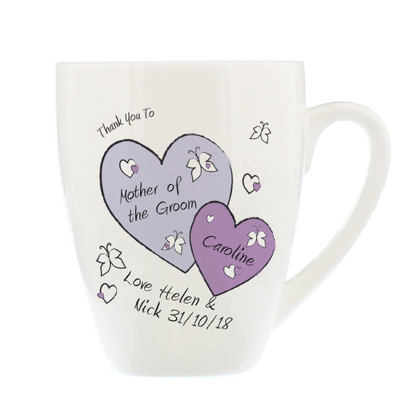 Personalised Butterfly Hearts Wedding Latte Mug white background