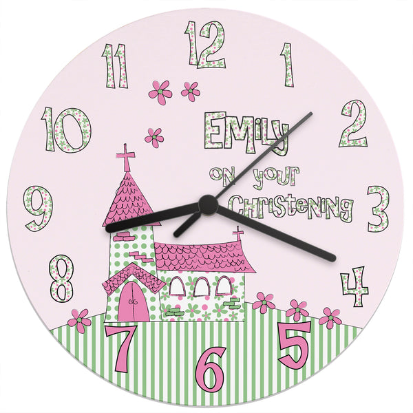 Personalised Whimsical Church Christening Clock white background
