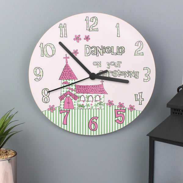 Personalised Whimsical Church Christening Clock lifestyle image