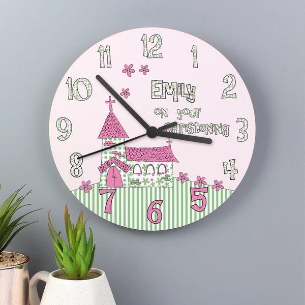Personalised Whimsical Church Christening Clock with personalised name