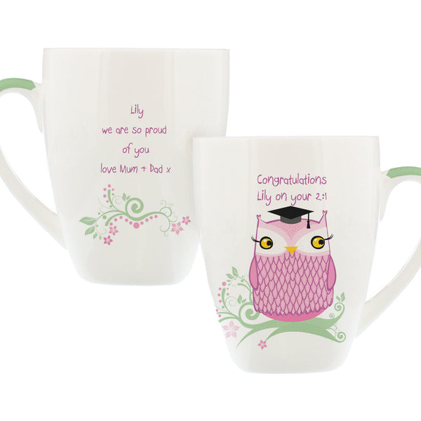Personalised Miss Owl Teacher Latte Mug white background
