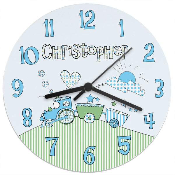 Personalised Whimsical Train Clock white background