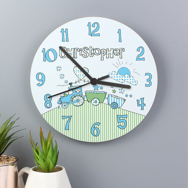 Personalised Whimsical Train Clock with personalised name