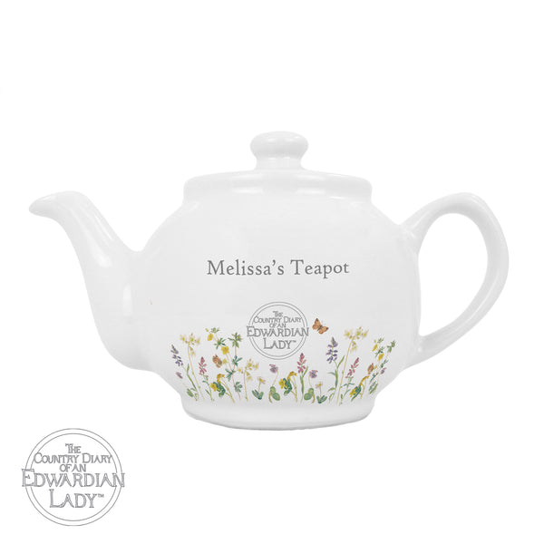 Personalised Country Diary Wild Flowers Teapot white background