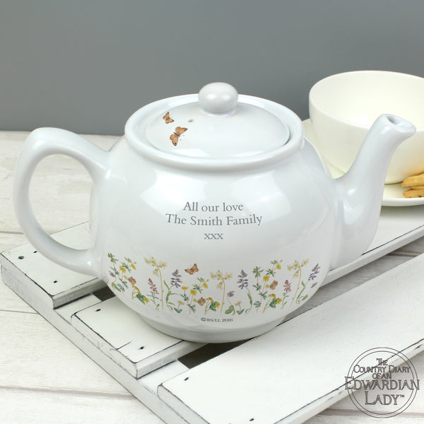 Personalised Country Diary Wild Flowers Teapot with personalised name