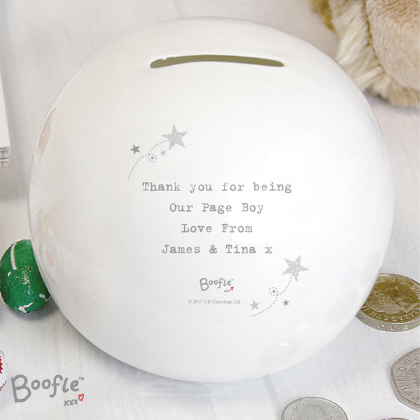 Personalised Boofle Boys Wedding Money Box lifestyle image