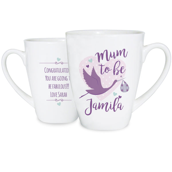Personalised Mum to Be Stork Latte Mug with personalised name
