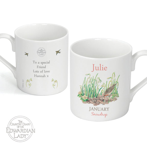 Personalised Country Diary 'January Flower Of The Month' Balmoral Mug white background