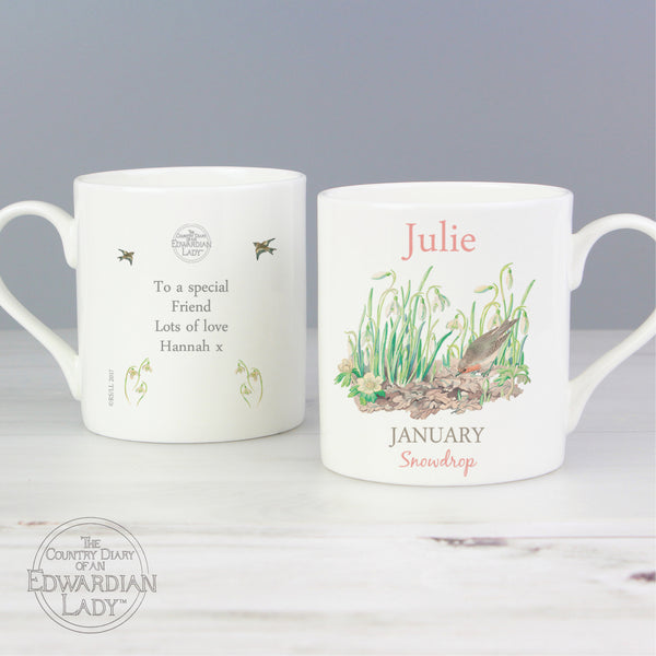 Personalised Country Diary 'January Flower Of The Month' Balmoral Mug from Sassy Bloom Gifts - alternative view