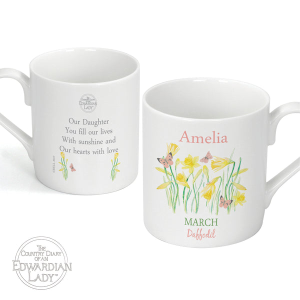 Personalised Country Diary 'March Flower Of The Month' Balmoral Mug white background