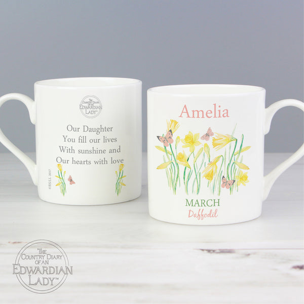 Personalised Country Diary 'March Flower Of The Month' Balmoral Mug from Sassy Bloom Gifts - alternative view