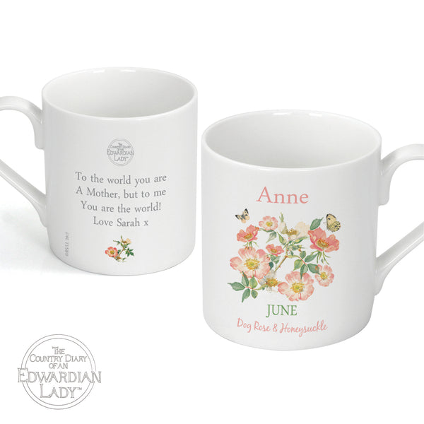 Personalised Country Diary 'June Flower Of The Month' Balmoral Mug white background