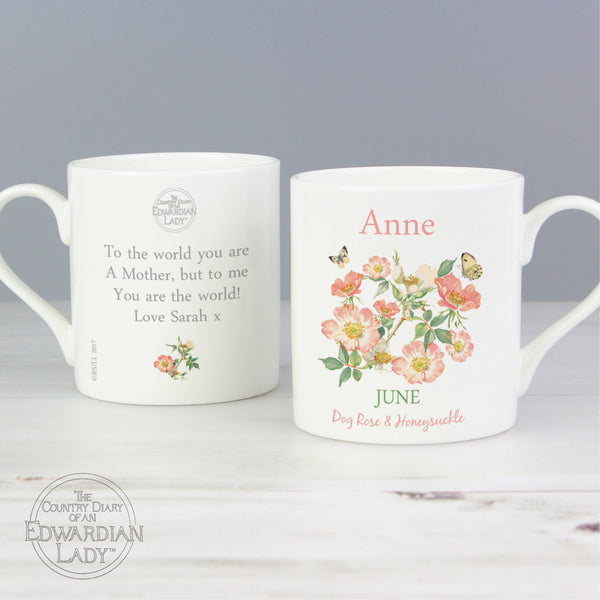 Personalised Country Diary 'June Flower Of The Month' Balmoral Mug from Sassy Bloom Gifts - alternative view