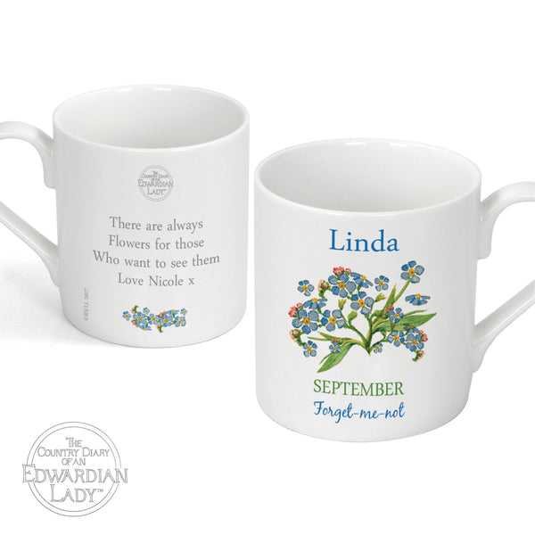 Personalised Country Diary 'September Flower Of The Month' Balmoral Mug white background
