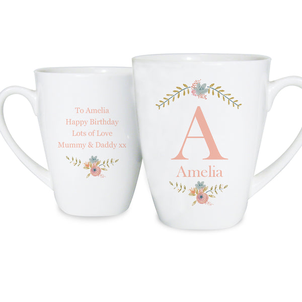 Personalised Floral Bouquet Latte Mug white background