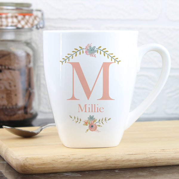 Personalised Floral Bouquet Latte Mug with personalised name